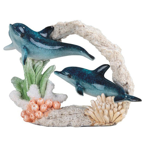 Dolphin Pair Swimming In Coral Figurine 1