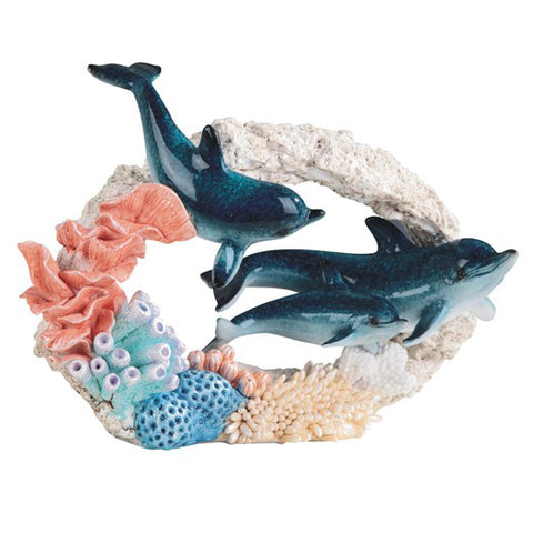 Dolphin Family Swimming Through Coral Figurine 1