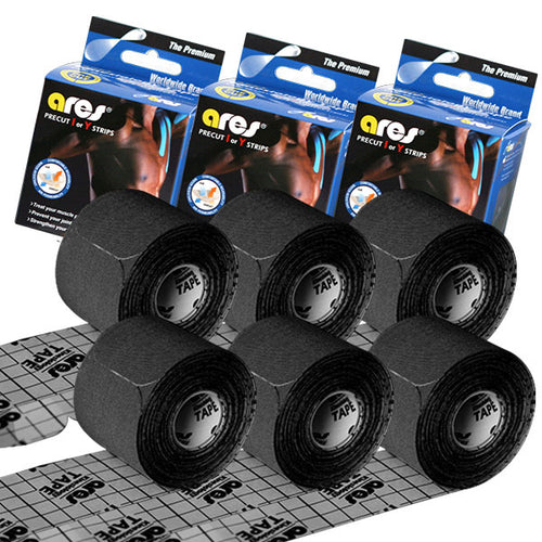 6-Pack ARES Kinesiology Premium Tape PRECUT BLACK 20 Strips