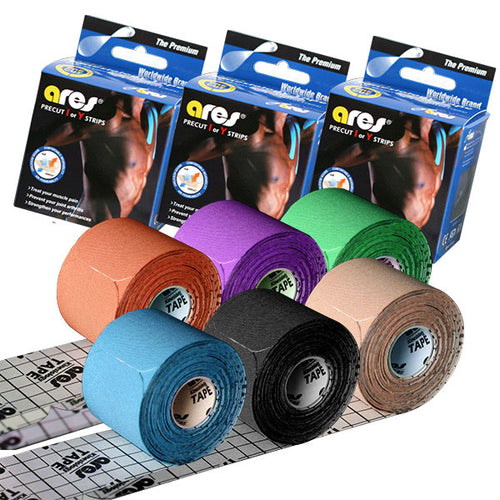6-Pack ARES Kinesiology Premium Tape Precut 20 Strips