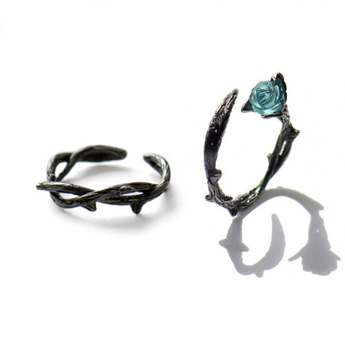 Creative blue Rose Ring (set) - supdealshop