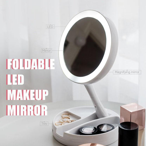 LED Lighted Folding Vanity Travel Mirror - supdealshop