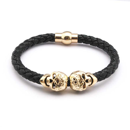 Leather  Gold Twin Skull Bracelet - supdealshop