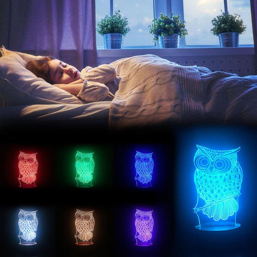 USB Owl 3D Night Light with 7 Colors Change LED - supdealshop