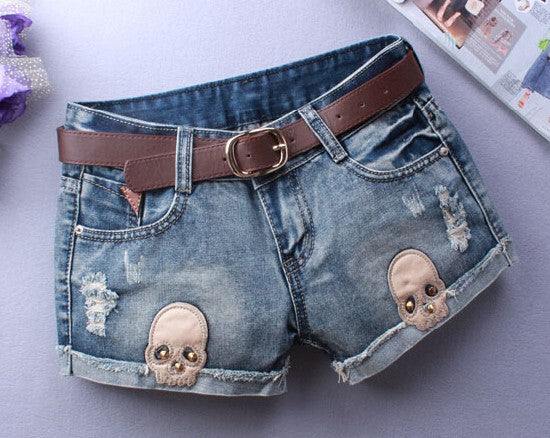 Sexy Ripped Skull Denim Shorts - supdealshop