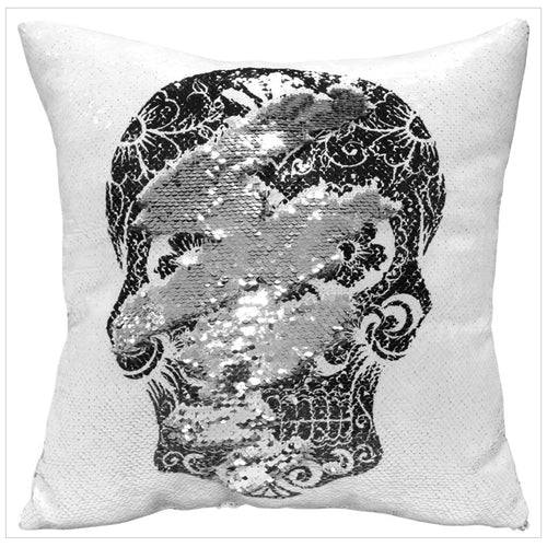 Reversible Sequin Skull Pillow Cover - supdealshop