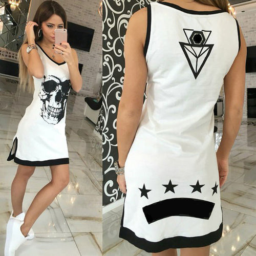 Skull Star  Sleeveless Dress - supdealshop