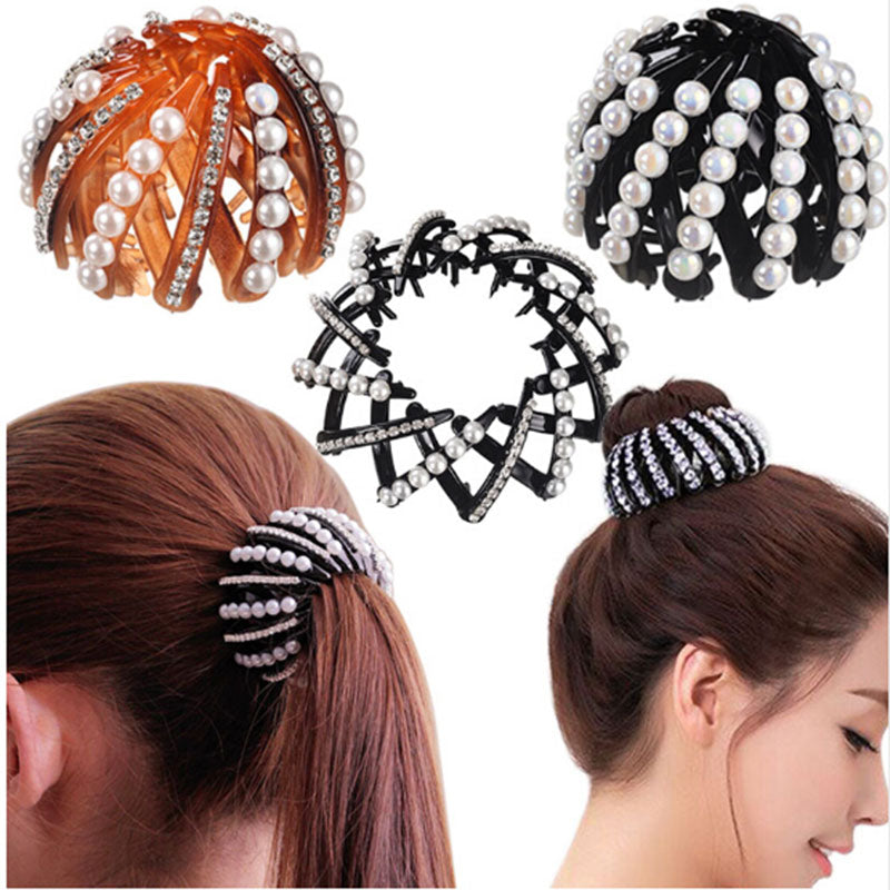 Crystal Bird Nest Hair Bun Maker - supdealshop