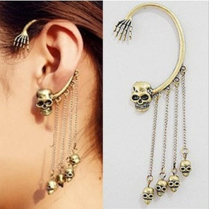 Punk Rock Retro Bronze Skull Ghost Claw Tassel Chain Left Earring Cuff Ear Stud - supdealshop
