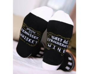 smooth as tennessee whiskey sweet as strawberry wine- Socks - supdealshop