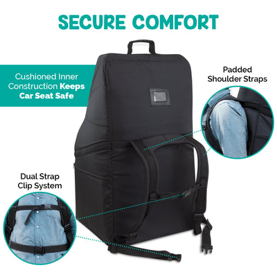 Car Seat Travel Bag Durable Waterproof Material With Heavy Duty Padding With Chest Waist Straps Tsa Compliant Gate Check Luggage Carrier For Baby