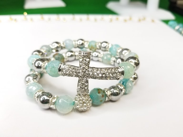 Seafoam Green Agate & Hematite 2 Piece Set