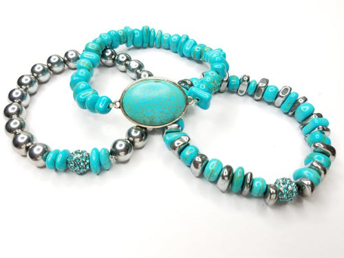 Turquoise Chips & Hematite Gemstone 3 Piece Bracelet Set
