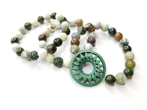 Jade Gemstone 3 Piece Bracelet Set