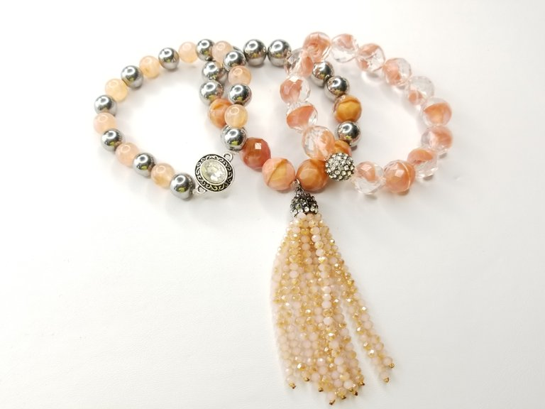 Peach Tassell Faceted Cut 3 Piece Bracelet Set