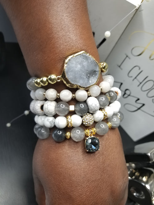 Grey Agate  Gemstone 5 Piece Set