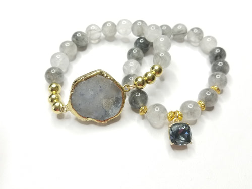 Grey Agate Gemstone Bracelet Set