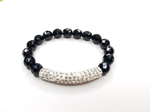 Black Faceted Cut Beaded & Rhinestone Tube Bracelet