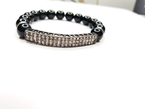Black Beaded & Rhinestone Bar Bracelet