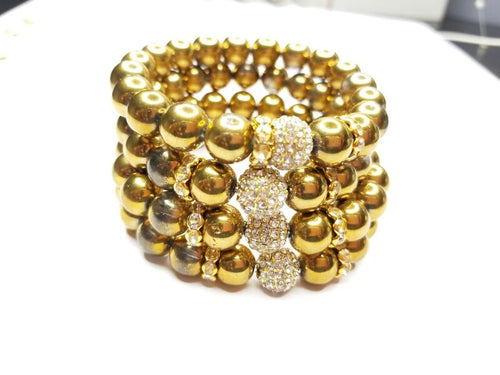 Gold Beaded & Rhinestone Bracelet