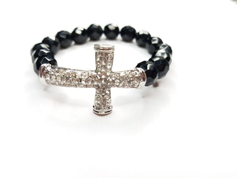 Black Faceted Cut & Rhinestone Cross Bracelet