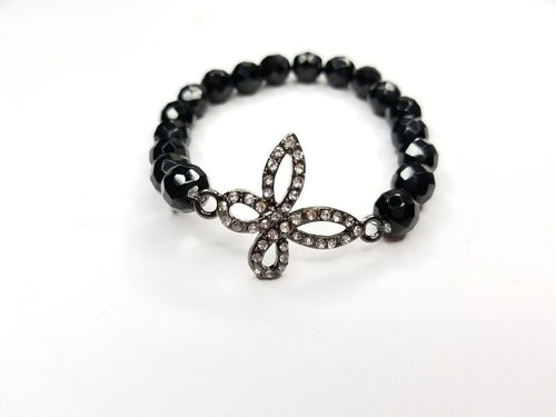 Black Faceted Beaded & Silver Flower Rhinestone Bracelet