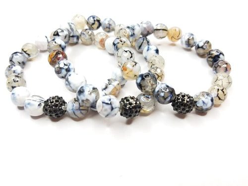 Grey/White/Black Spiral Agate Gemstone Bracelet
