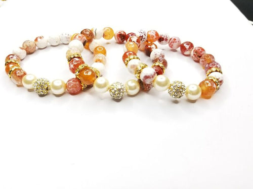 Cream/Burnt Orange Agate Gemstone & Pearl  Bracelet