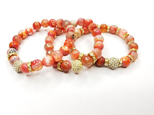 Orange/Cream Gemstone & Rhinestone Bracelet