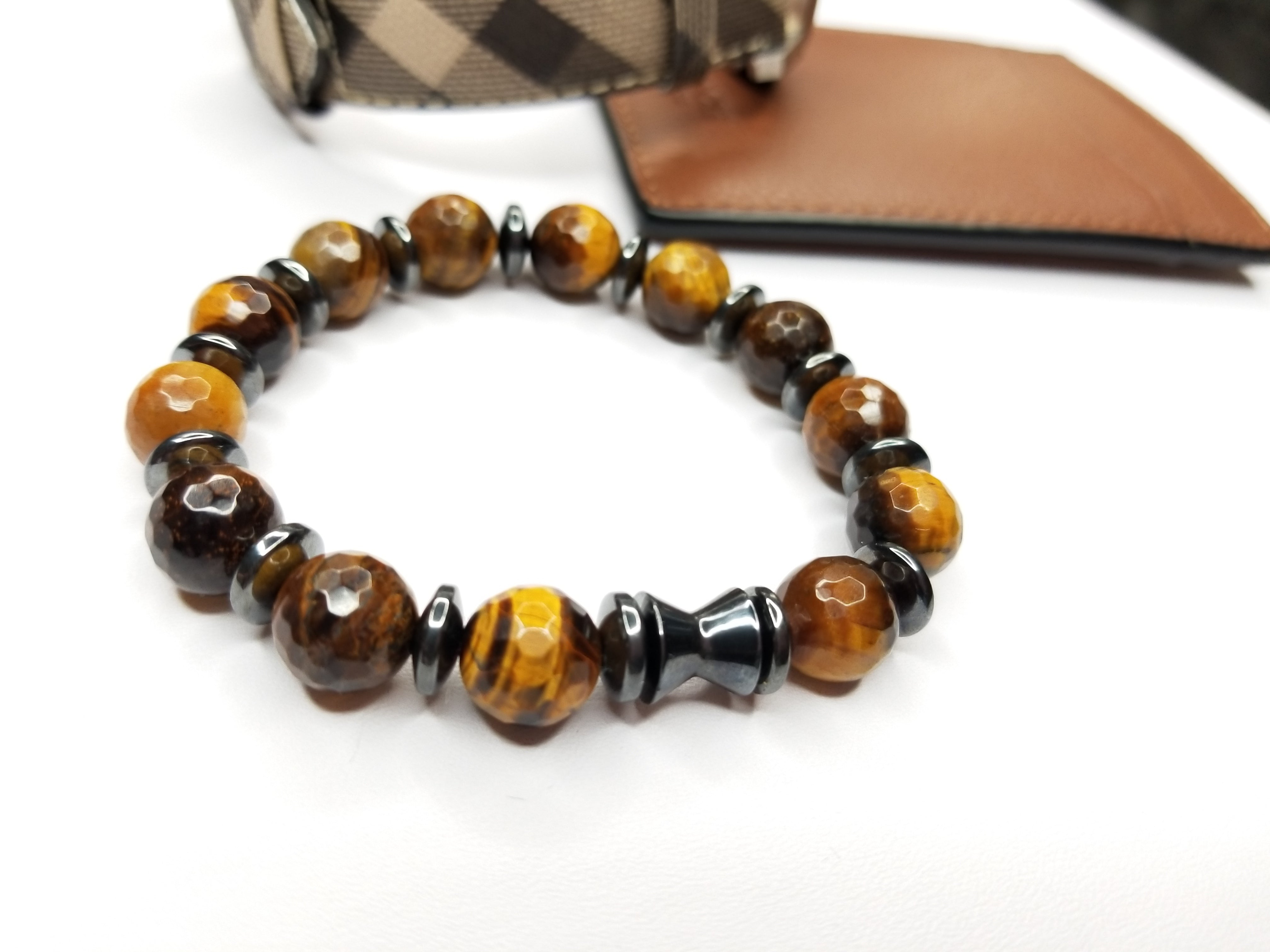 unisex stability brown multicolor gemstone gift classic listing stack il bracelets mens yoga eye groom gemstones tiger women eyes mala fullxfull beaded