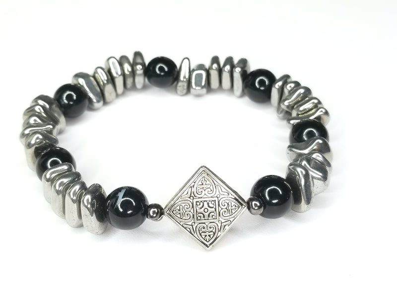 Men's Chip Hematite Gemstone Bracelet