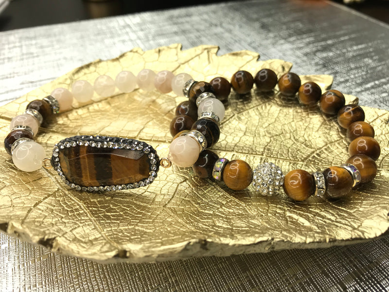 Tiger Eye Gemstone 2 Piece Pendant Bracelet Set