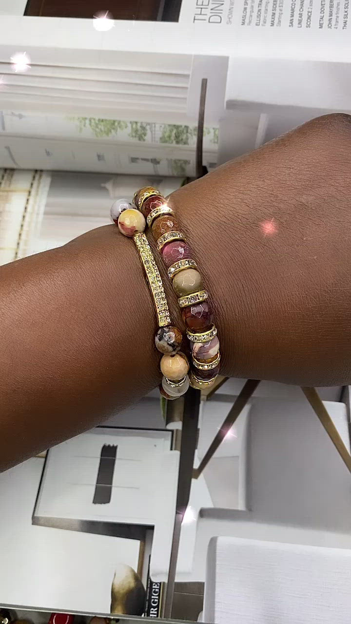 Mookaite Gemstone 2 Piece Bracelet Set
