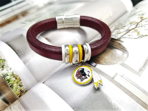 Football Inspired Geniune Licorice Leather Bracelet