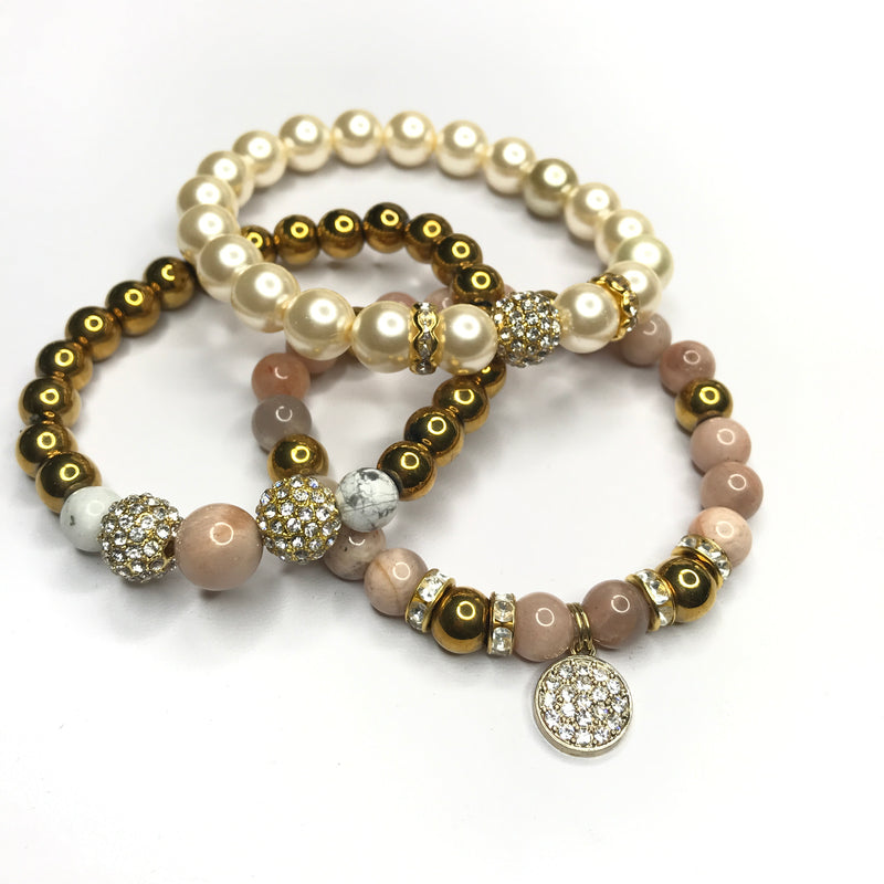 Pearl & Moonlight  Gemstone 3 Piece Bracelet Set