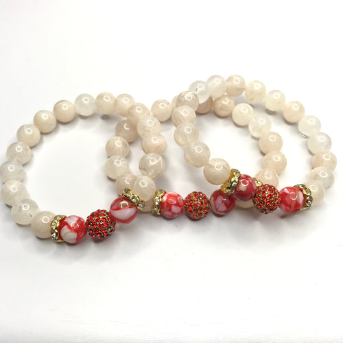 Red Mother of Pearl Gemstone & Acrylic  Bracelet