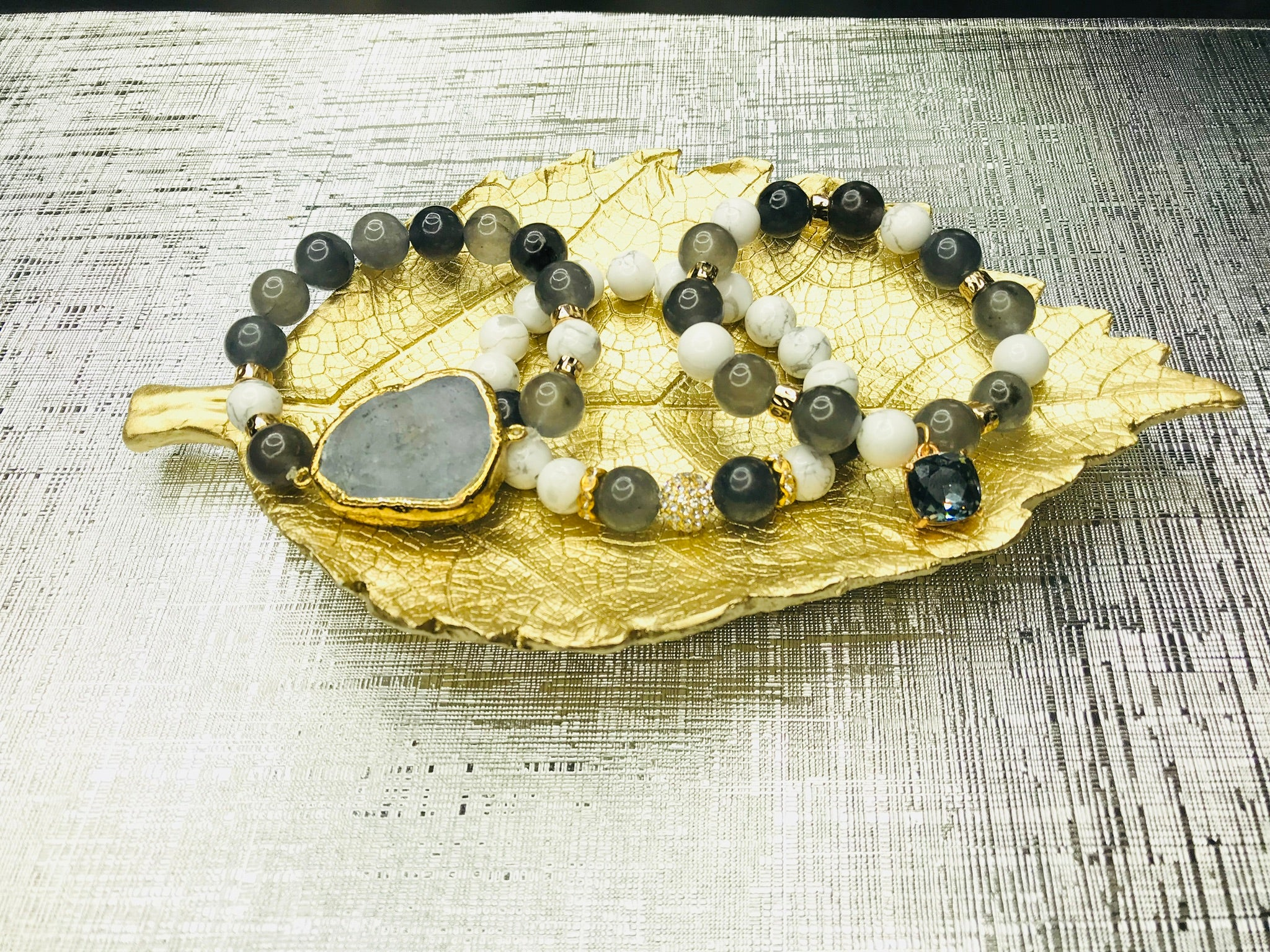 Grey Jade & Jasper Gemstone 3 Piece Bracelet Set