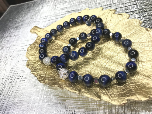 Men's Blue Tiger Eye Gemstone Lion 2 Piece Bracelet Set