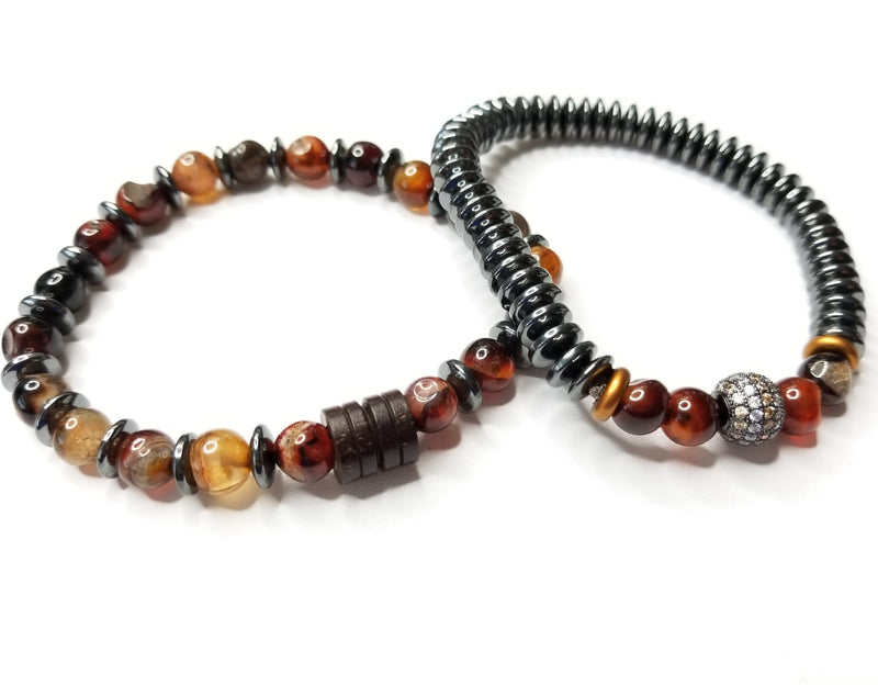 Men's Brown Jasper & Hematite Bracelet Set