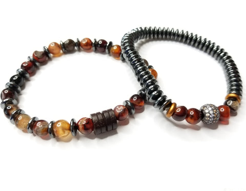 Men's Red Quartz, Hemaite & Silver Mix 2 Piece Bracelet Set