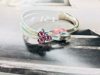 Pastel Flower & Pink Rhinestone Side Cuff Leather Bracelet