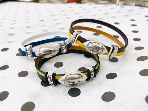 Football Inspire Geniune 10mm Flat Leather Bracelet (Football Connector)