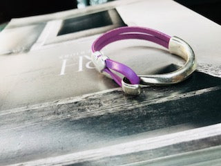 Purple Heart Side Cuff Leather Bracelet