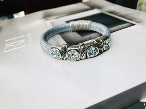 Metallic Silver Deluxe Bling Leather Bracelet