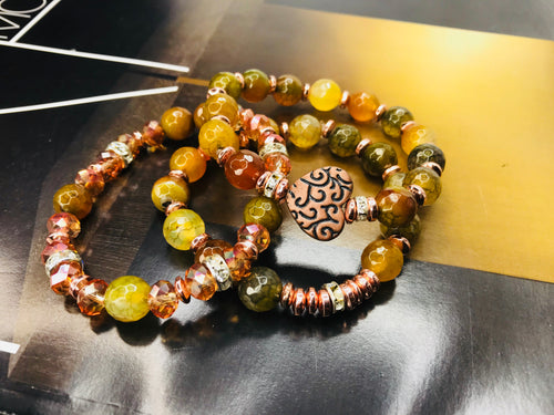 Pumpkin Agate Gemstone Heart 3 Piece Bracelet Set