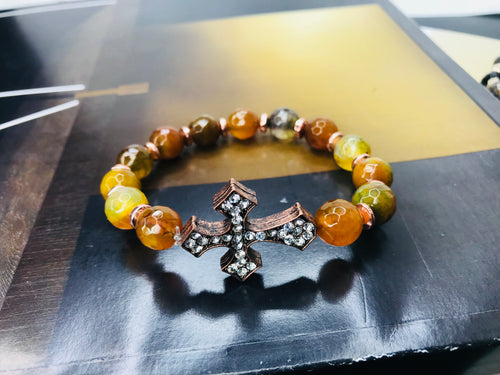Pumpkin Agate Gemstone Cross Bracelet