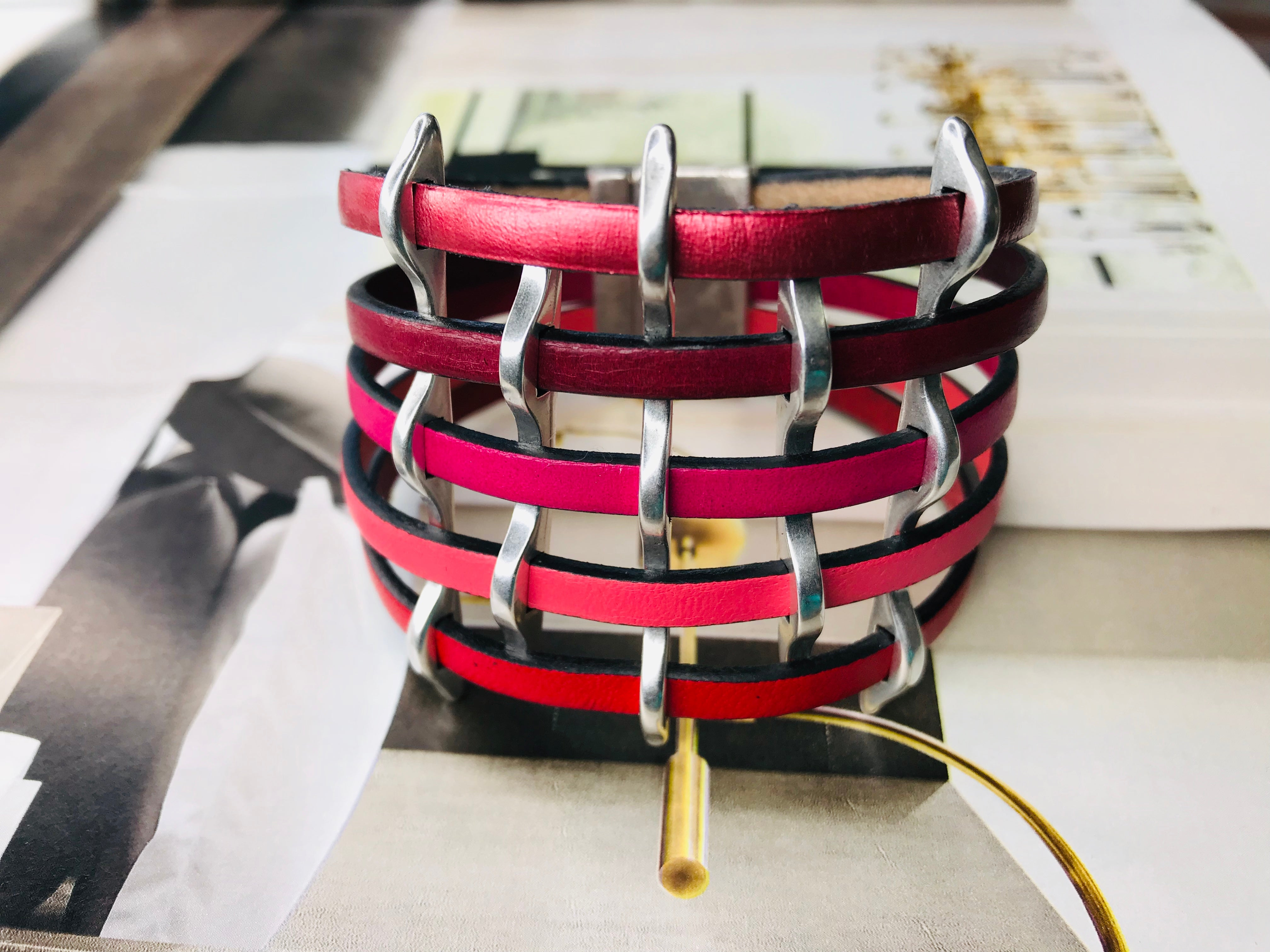 Pink Multi Strand Cuff Leather Bracelet