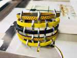 Yellow Multi Strand Cuff Leather Bracelet