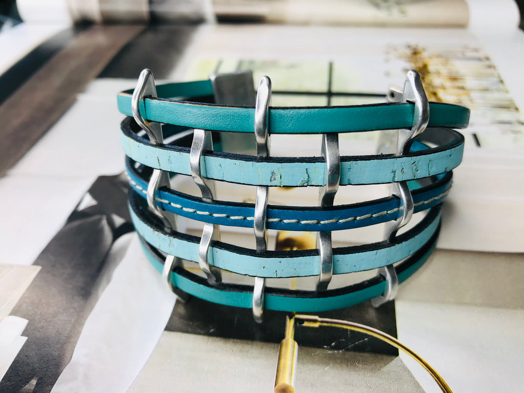 Turquoise Multi Strand Cuff Leather Bracelet