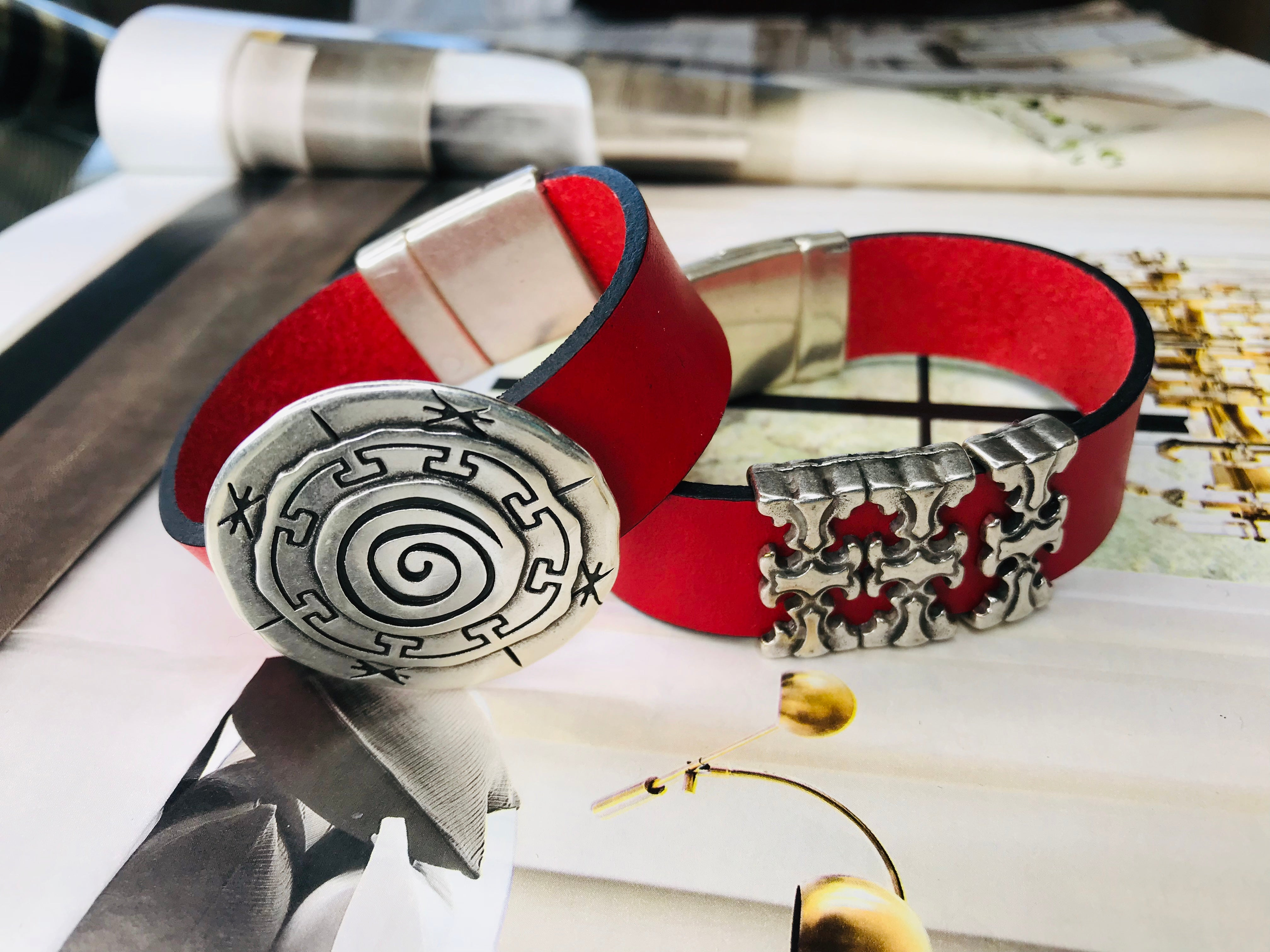 Red Double Silver Leather Bracelet